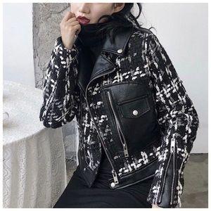 Jackets & Blazers - 🆕 Black Tweed Vegan Leather Jacket